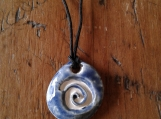 Sacred Spiral Ceramic Aromatherapy Necklace Blue Essential Oil Diffuser Pendant Clay Pottery Bead Celtic Pagan Symbol