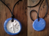 Sand Dollar Necklace Blue Aromatherapy Clay Pendant Essential Oil Diffuser Disc Ceramic Boho Beach Surfer Necklace