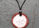 Sand Dollar Necklace Desert Red Aromatherapy Clay Pendant Essential Oil Diffuser Disc Ceramic Boho Beach Surfer Necklace