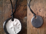 Sand Dollar Necklace Pewter Aromatherapy Clay Pendant Essential Oil Diffuser Disc Ceramic Boho Beach Surfer Necklace