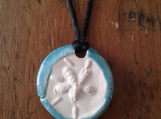 Sand Dollar Necklace Turquoise Aromatherapy Clay Pendant Essential Oil Diffuser Disc Ceramic Boho Beach Surfer Necklace