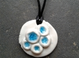 Seaglass Necklace Barnacle sea Turquoise Blue Porcelain Pendant