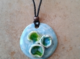 Seaglass Necklace Porcelain Pendant Barnacle Turquoise Green Surfer Amulet