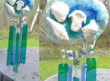 Seashell Wind Chime Clay Glass & Ceramic Mobile Sea Green Teal Beach Decor Ocean Art