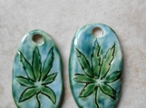 Set 2 Marijuana Pendants Green Turquoise Ceramic Beads