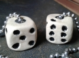 Set 2 Playing Dice Ceramic Fan Lamp Pulls Clay Pottery Pulls Gambling Casino Pair of Black White Dice Pottery Decor