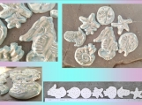 Set 7 Sea Creatures Mosaic Tiles Fine Porcelain Turquoise Mother of Pearl Seahorse Starfish Sand Dollar Nautilus T