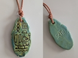 Seth Necklace Egyptian Cartouche God of War Chaos Storms Sea Green Ceramic Pendant Hieroglyph Amulet