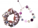 Shades of Purple Glass Bead Stretch Bracelet with Bonus