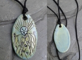 Siberian Petroglyph Pendant Ceramic Okunev Culture Rock Drawing Necklace Sea Green Amulet