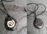 Spiral Aromatherapy Necklace Antiqued Pewter Ceramic Essential Oil Diffuser Clay Pendant Celtic Pagan Symbol