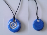 Spiral Aromatherapy Necklace Blue Ceramic Essential Oil Diffuser Pendant Clay Amulet Pottery Bead Celtic Pagan Symbol