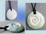 Spiral Aromatherapy Necklace Essential Oil Clay Diffuser Green Pendant Celtic Symbol