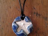 Starfish Necklace Blue Aromatherapy Clay Pendant Essential Oil Diffuser Disc Ceramic Boho Beach Surfer Necklace