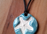 Starfish Necklace Caribbean Blue Aromatherapy Clay Pendant Essential Oil Diffuser Disc Ceramic Boho Beach Surfer Necklace
