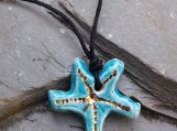 Starfish Necklace Genuine Gold Lustre & Turquoise Ceramic Pendant