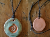 Terra Cotta Spiral Aromatherapy Necklace Turquoise Essential Oil Diffuser Pendant .2