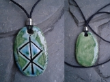 Thor Necklace Turquoise Green Norse Runestone Pendant Ceramic Viking Amulet God of Thunder