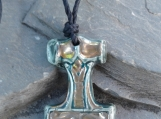 Thor's Hammer Necklace Viking Pendant Teal Ceramic with Gold Lustre Mjolnir