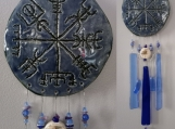 Vegvisir Ceramic & Glass Wind Chime Blue Viking Galdrastafur