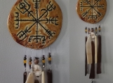 Vegvisir Clay & Glass Wind Chime Ceramic Viking Chimes Icelandic Runic Compass Galdrastafur