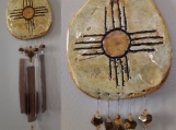 Zia Sun Clay & Glass Wind Chime Hopi New Mexico Garden Mobile