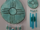 Zia Sun Clay & Glass Wind Chime Hopi New Mexico Turquoise Garden Mobile
