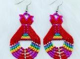 Beaded Red Dress Teepee Earrings