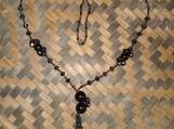 Black Czech Glass Beaded Tassel Necklace