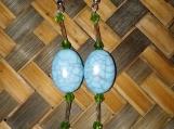 Blue Bead & Czech Glass Droplet Earrings