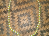 Frosted Green & White Glass Beaded Necklace and Bracelet