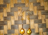 Gold Hand Blown Glass  Bead Earrings
