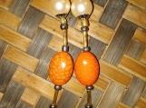 Orange & Cream Bead Droplet Earrings