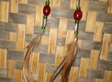 Red and Green Bead Feather Earrings
