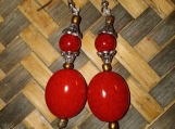 Red & Silver Toned Earrings