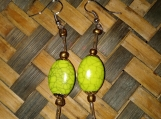 Rose & Green Bead Earrings