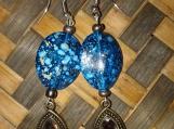 Spotted Blue Bead Droplet Earrings