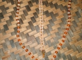 Brown Glass Bead & Gold Beaded Necklace and Bracelet