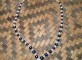 Cobalt Blue & White Glass Beaded Necklace and Bracelet