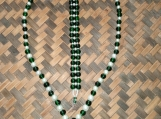 Emerald Green & White Glass Beaded Necklace and Bracelet