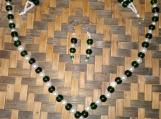 Emerald Green & White Glass Beaded Set