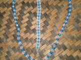 Frosted Blue & Clear Glass Bead Necklace and Bracelet