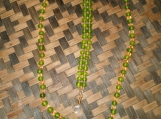 Frosted Green & Gold Glass Beaded Necklace and Bracelet