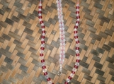 Frosted Red & Clear Beaded Necklace and Bracelet
