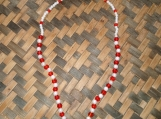 Red & White Glass Beaded Necklace and Bracelet