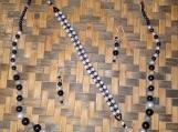 Silver & Black Beaded Necklace, Bracelet, & Earring Set