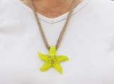 Bright Yellow Glass Star Pendant necklace