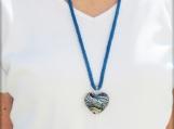 Glitzy glass heart pendant