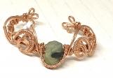 Prehnite copper wire wrap cove bracelet