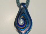 Swirls of blue and glimmer glass pendant necklace
